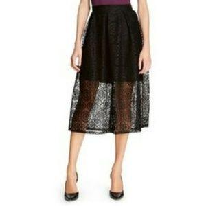 Massimo Black Lace Overlay Midi Skirt Size 4